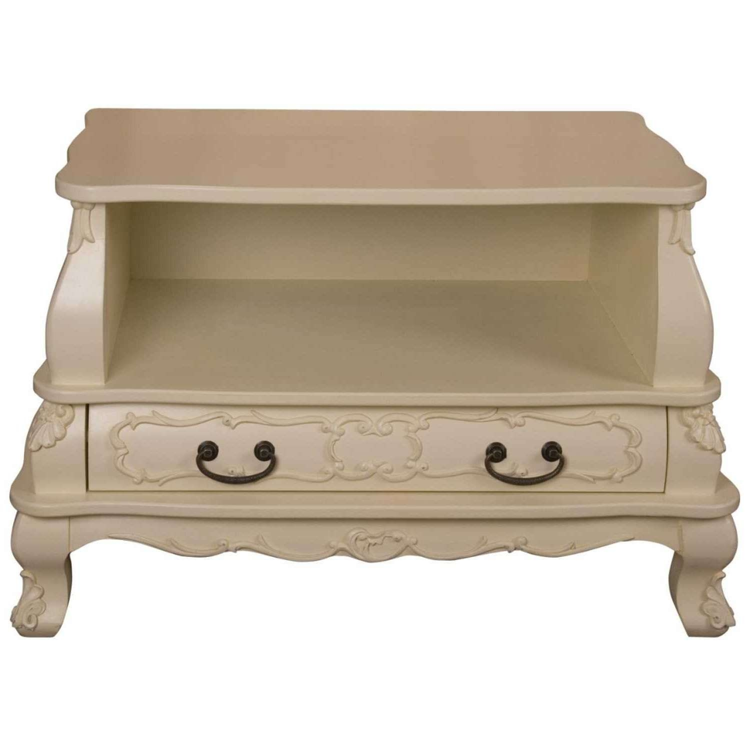 Cream Painted Shabby Chic Bergere Tv Cabinet Regarding Shabby Chic Tv Cabinets (View 5 of 20)