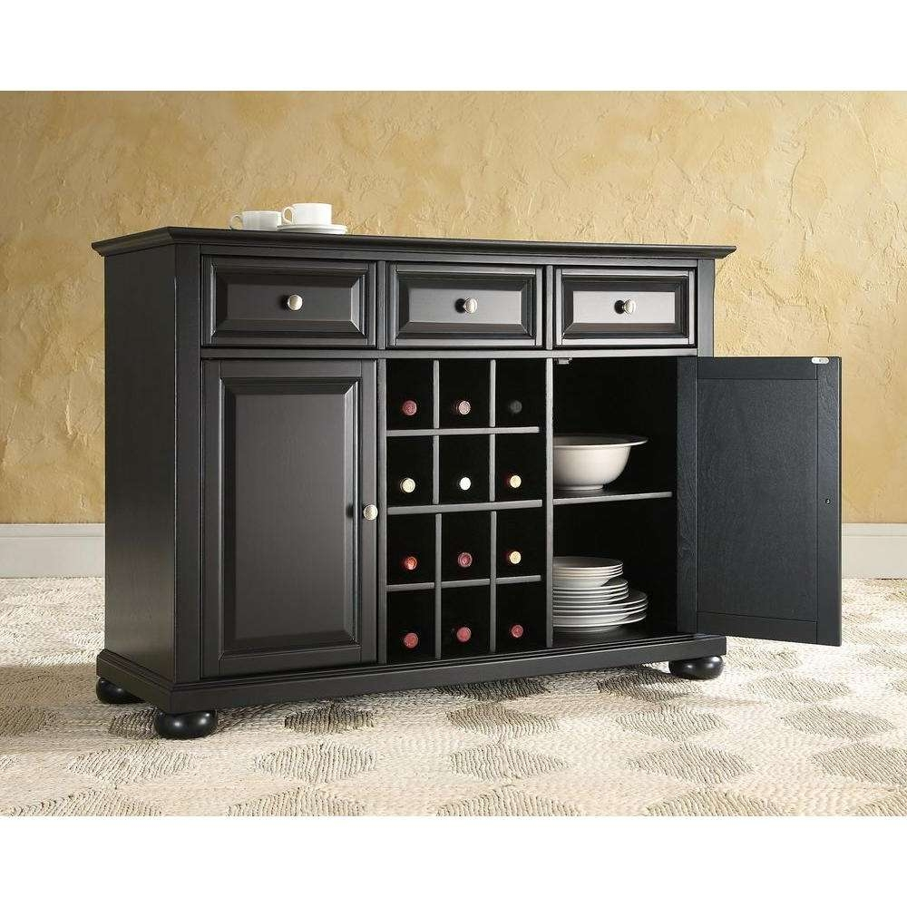 Crosley Alexandria Black Buffet Kf42001abk – The Home Depot Intended For Black Buffet Sideboards (View 13 of 20)