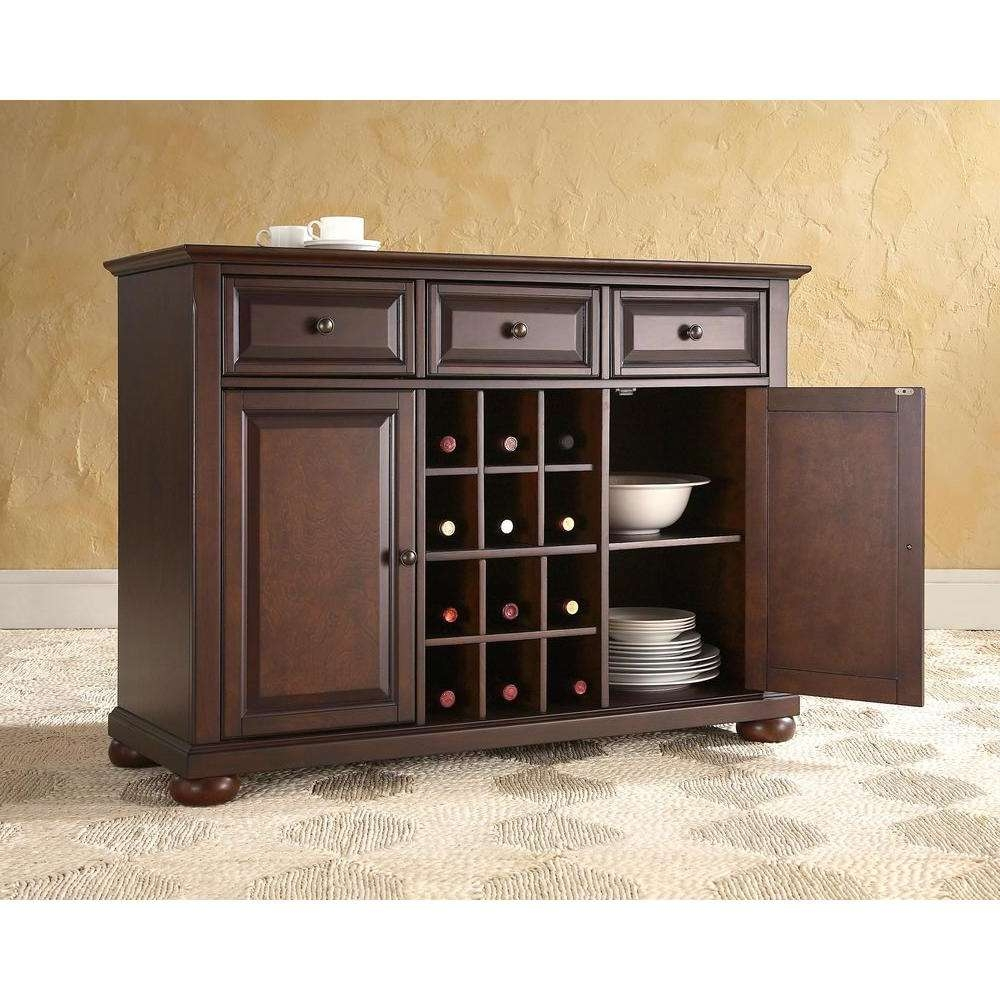 Crosley Alexandria Black Buffet Kf42001abk – The Home Depot Within Black Sideboards (View 10 of 20)