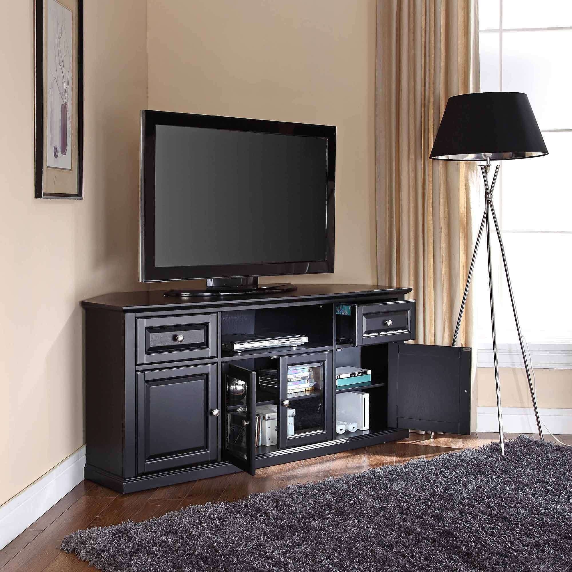 "Crosley Furniture Corner Tv Stand For Tvs Up To 60"" – Walmart With Regard To Black Corner Tv Cabinets With Glass Doors (View 6 of 20)"
