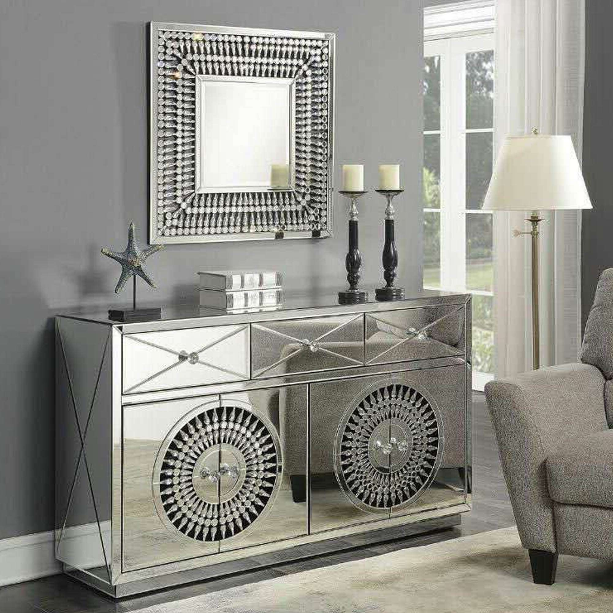 Crystal Mirrored Sideboard | Sideboard | Homesdirect365 Inside Mirrored Sideboards (View 15 of 20)