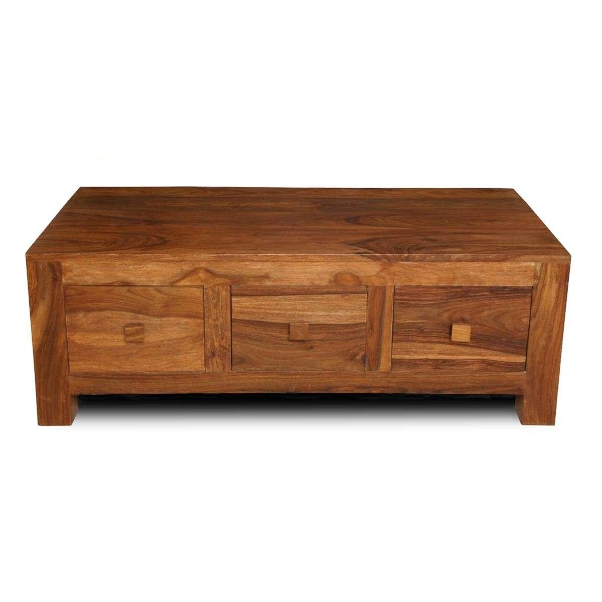 Cuba Sheesham 3 Drawer Coffee Table (View 2 of 20)