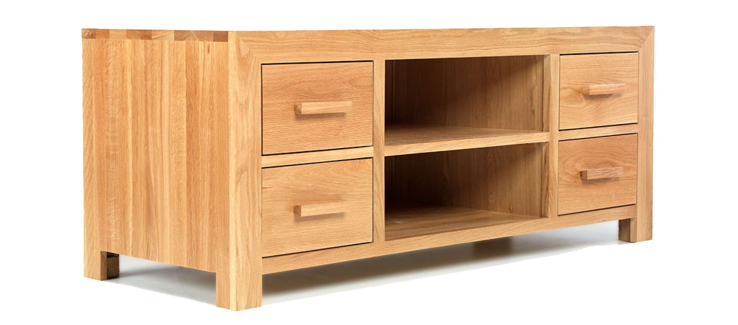Cube Oak Plasma Tv Stand | Quercus Living With Regard To Solid Oak Tv Cabinets (View 19 of 20)