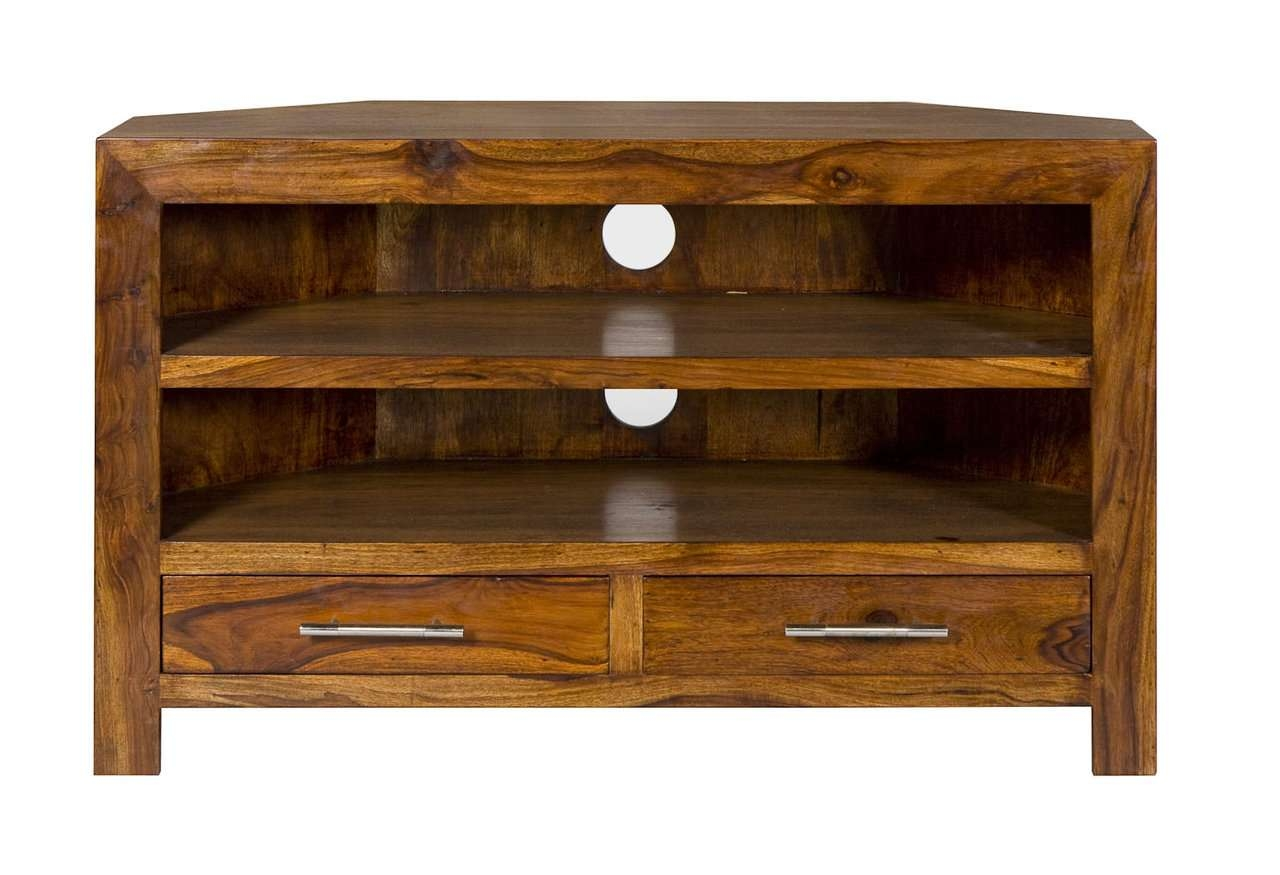 Cube Petite Chunky Corner Tv Cabinet Tv Stand Intended For Solid Oak Corner Tv Cabinets (View 9 of 20)