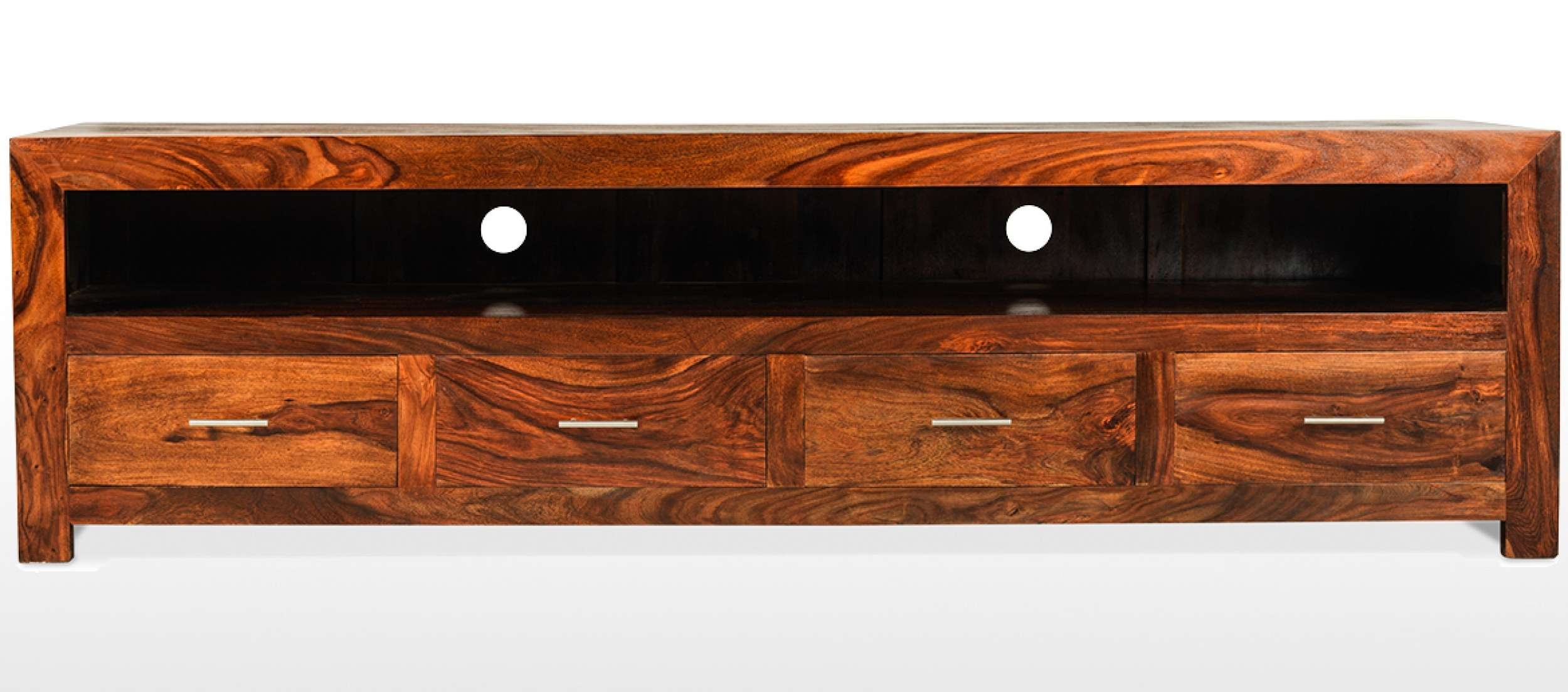 Cube Sheesham Long Plasma Tv Cabinet | Quercus Living Regarding Wide Tv Cabinets (View 6 of 20)