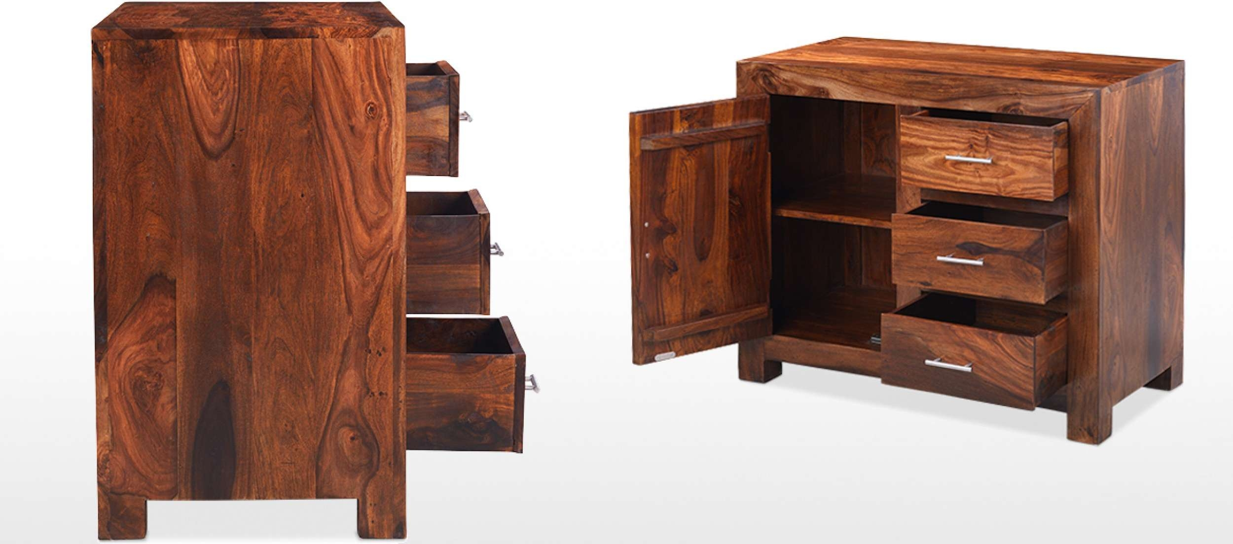 Cube Sheesham Small Sideboard | Quercus Living Throughout Small Dark Wood Sideboards (View 2 of 20)