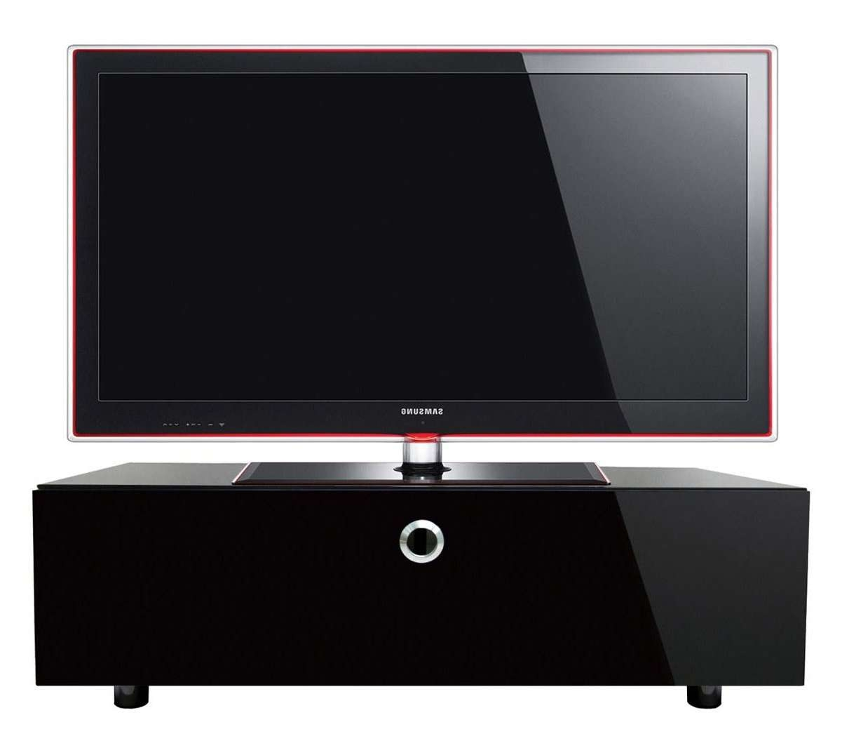 Cubic 1000 Black Tv Cabinet With Beamthru For Black Corner Tv Cabinets (View 11 of 20)
