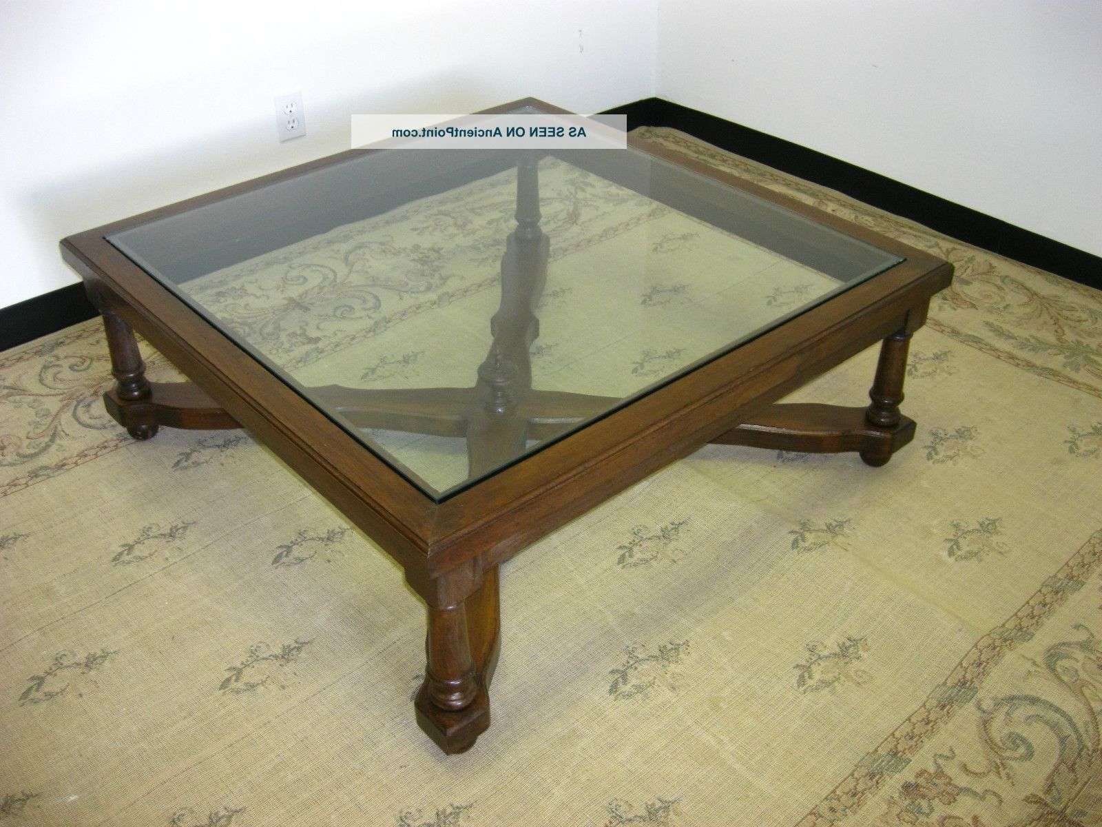 Current Antique Glass Top Coffee Tables Pertaining To Coffee Table : Fabulous Wood And Metal Coffee Table Large Square (View 11 of 20)