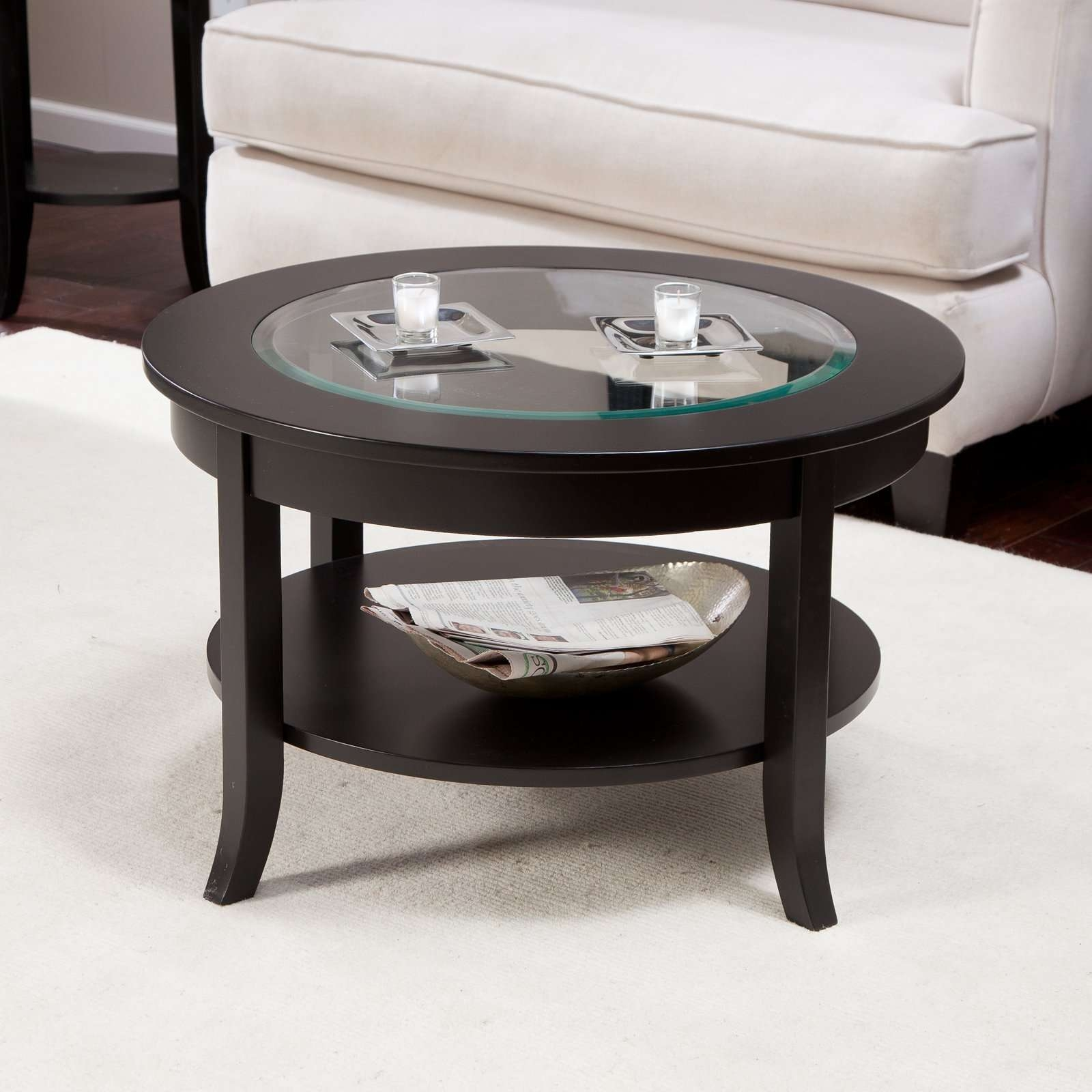 Current Black Wood And Glass Coffee Tables Regarding Coffee Table : Amazing Wood And Glass Coffee Table Black Round (View 8 of 20)