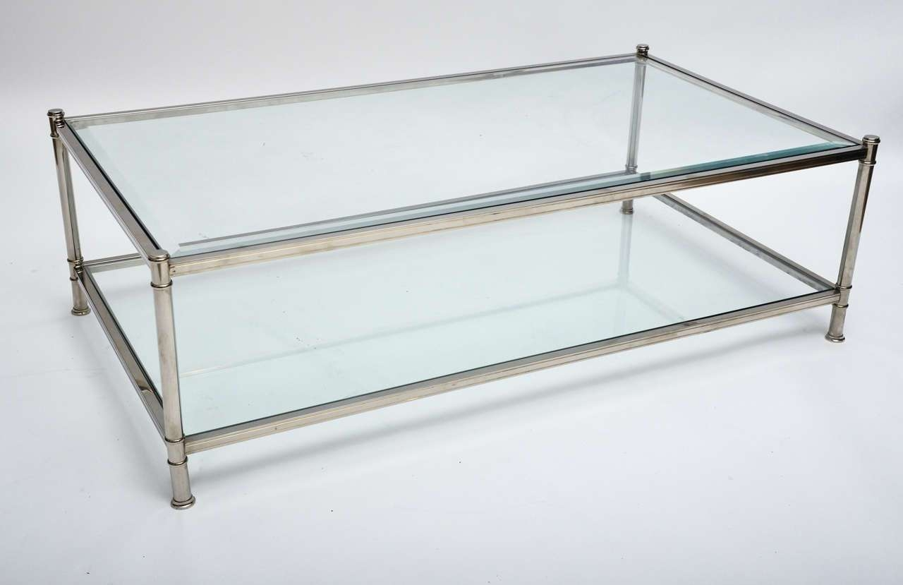 Current Chrome Glass Coffee Tables Regarding Coffee Table, Mid Century Modern French Chrome And Glass Two Tier (View 9 of 20)