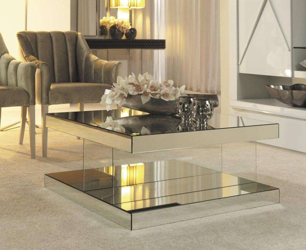 Current Coffee Tables Mirrored With Regard To Living Room Mirrored Shelf Coffee Table Ideas With Mirror Tables (View 9 of 20)