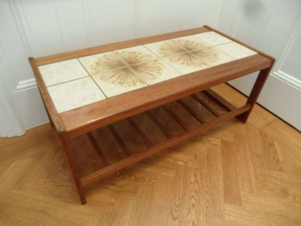 Current Coffee Tables With Magazine Rack With Regard To Teak Tiled Top Coffee Table Occasional Magazine Rack Danish Style (View 2 of 20)