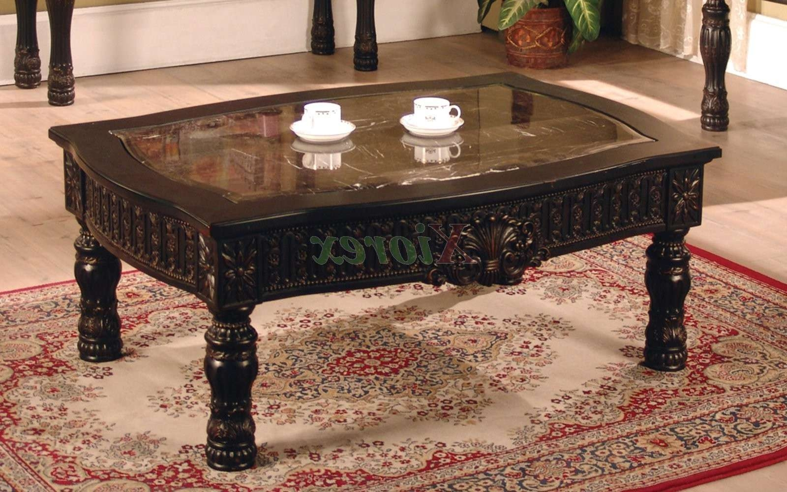 Current Dark Brown Coffee Tables For Ajax Rectangle Coffee Table With Faux Marble Top Inlay (View 6 of 20)