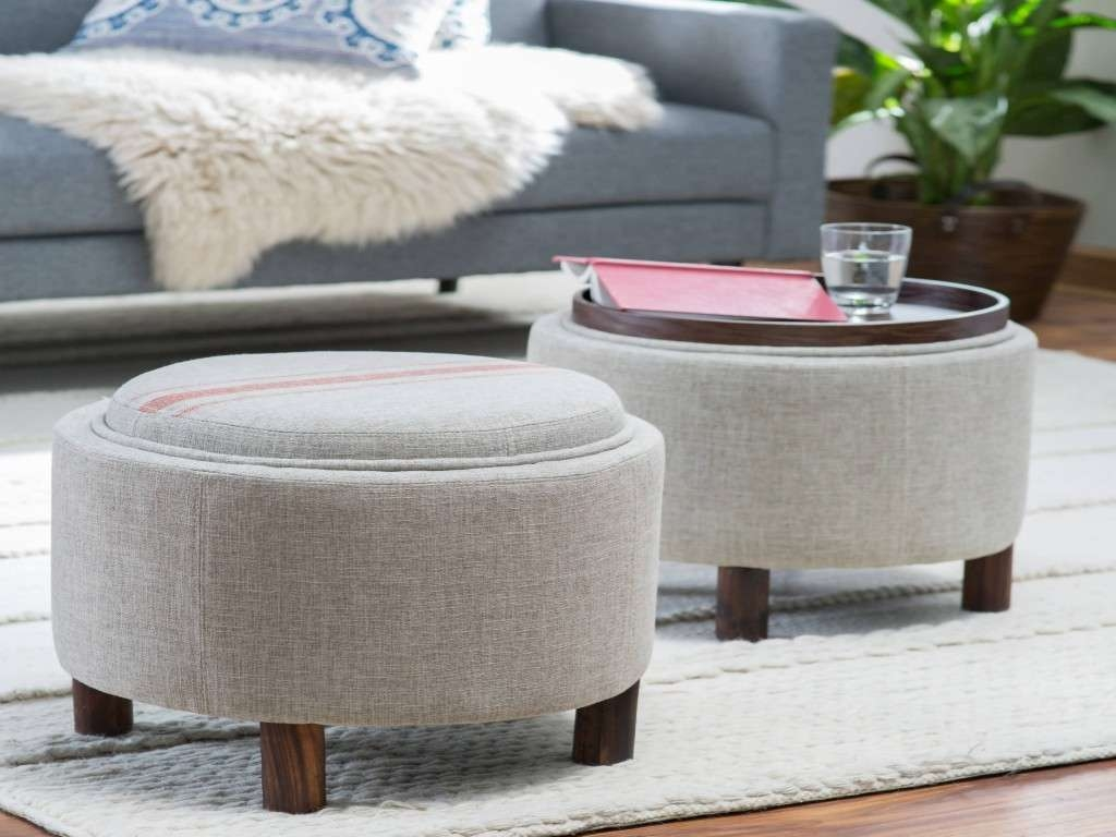 Current Footstool Coffee Tables Pertaining To Round Ottoman Coffee Table Lovely Sofa Gray Ottoman Round Fabric (View 5 of 20)