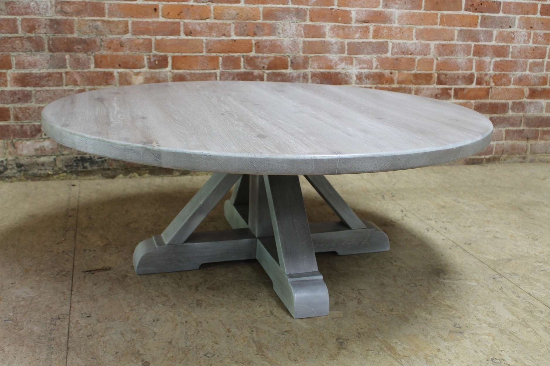 Current Grey Wash Wood Coffee Tables Within Round White Washed Coffee Table With Pedestal – Ecustomfinishes (View 7 of 20)