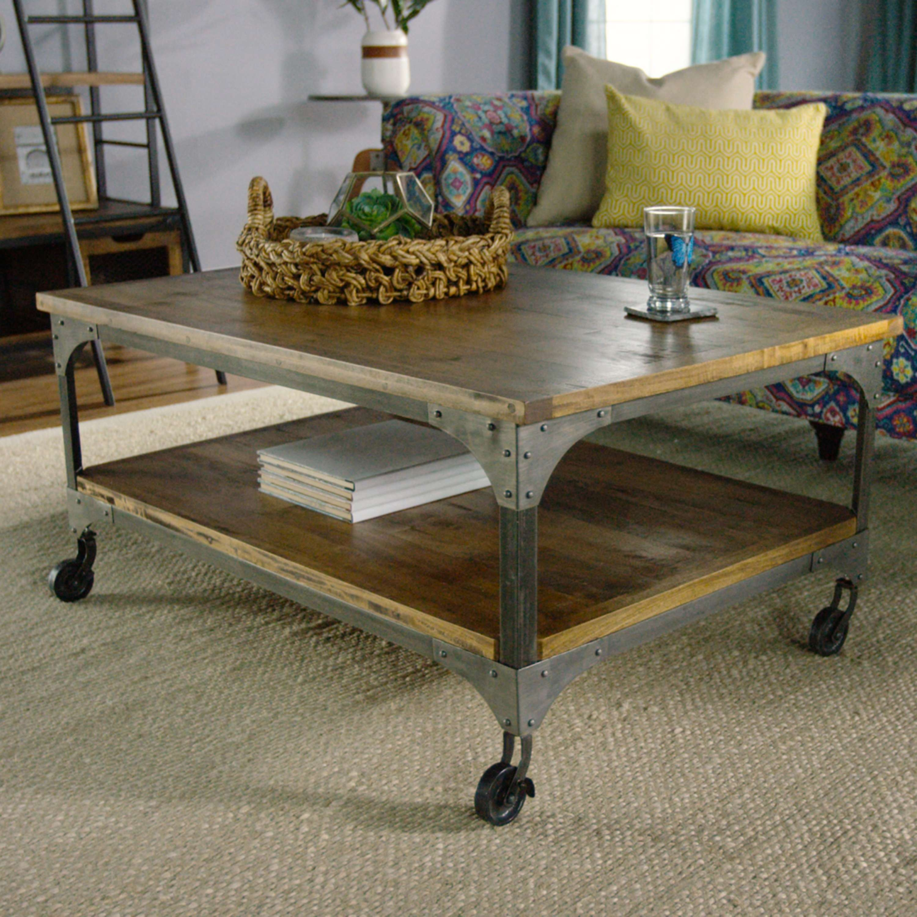 Current Industrial Coffee Tables Intended For Wood And Metal Aiden Coffee Table (View 8 of 20)