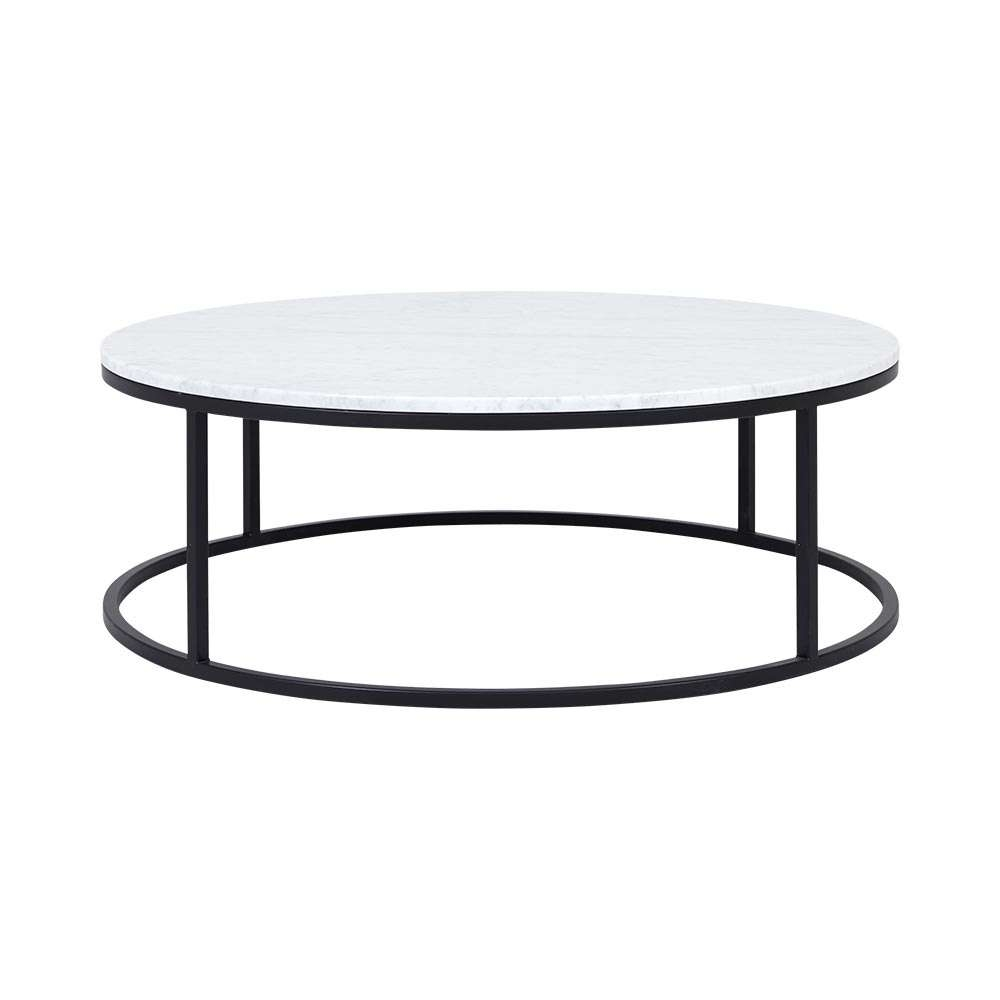 Current Marble Coffee Tables With Modern Contemporary Cameron Round Marble Coffee Table  Black Frame (View 3 of 20)