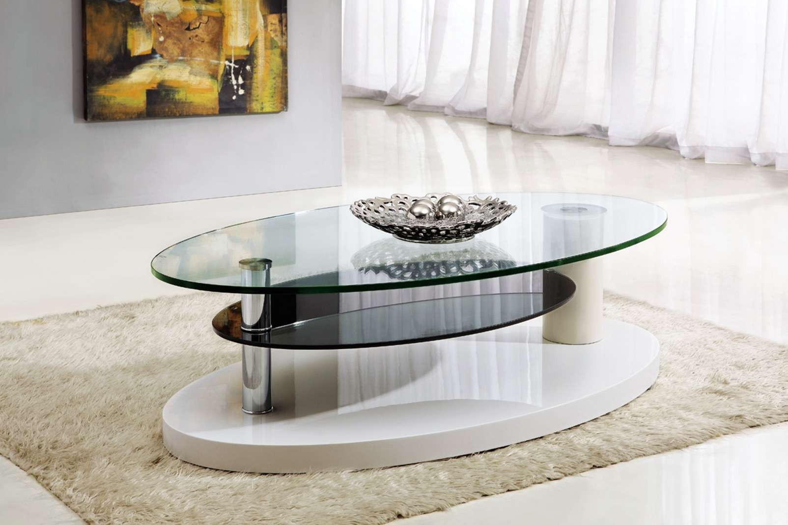 Current Oval White Coffee Tables Regarding Furniture: Oval Contemporary White Coffee Table On Dark Grey Fur (View 8 of 20)