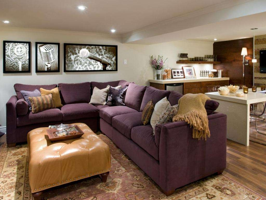 Current Purple Ottoman Coffee Tables For Dark Purple Sectional Sofa And Beige Leather Ottoman Coffee Table (View 11 of 20)