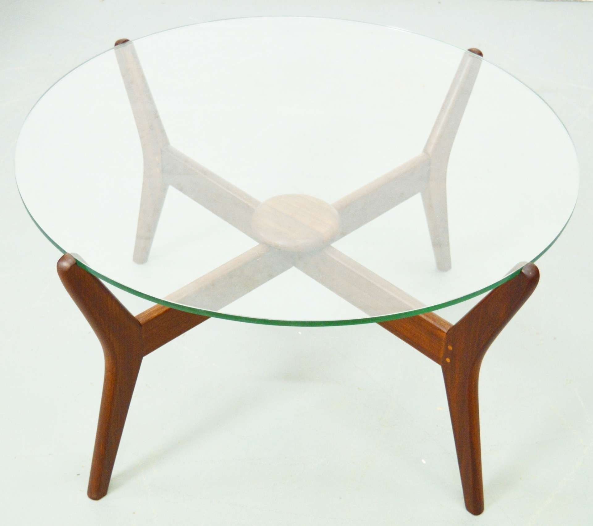 Current Retro Teak Glass Coffee Tables Pertaining To Mid Century Danish Teak Glass Top Coffee Table (View 4 of 20)