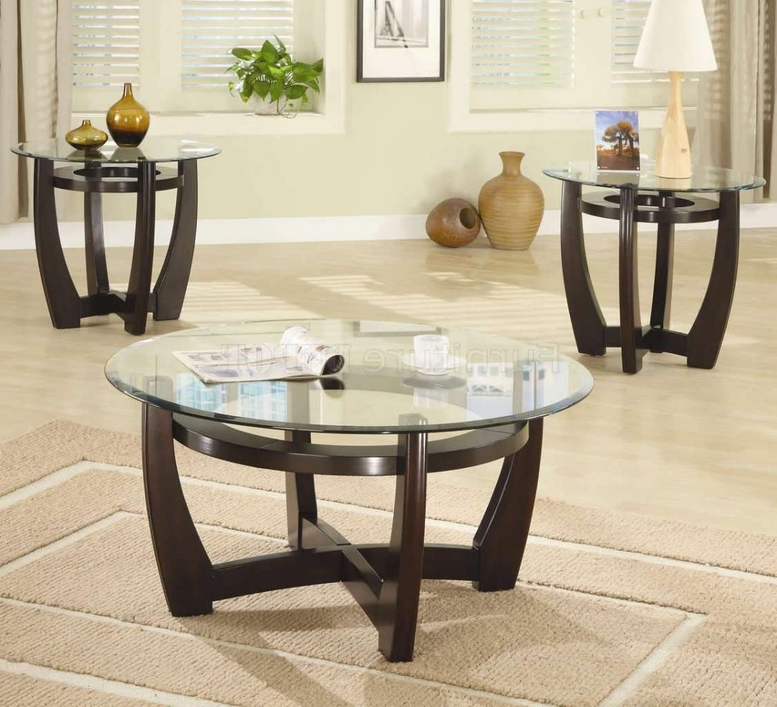 Current Round Wood And Glass Coffee Tables With Regard To Coffee Tables Ideas: Unbelievable Glass Coffee Table Sets And (View 20 of 20)