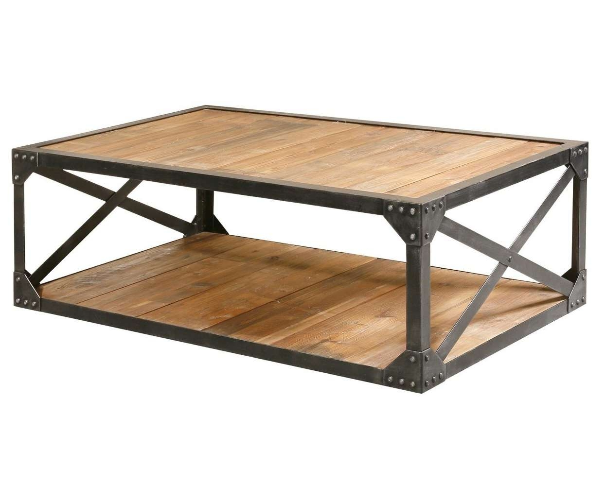Current Steel And Wood Coffee Tables Intended For Industrial Metal And Wood Coffee Table Steel Table – Surripui (View 3 of 20)