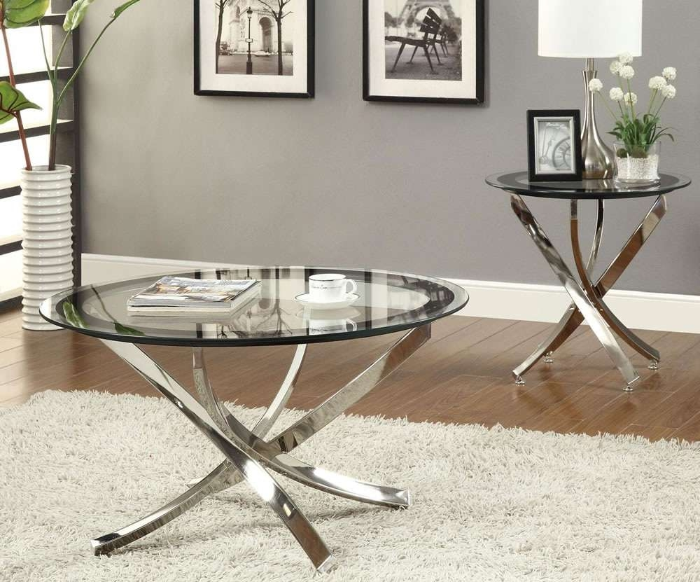 Current Unusual Glass Coffee Tables Inside Glass And Metal Coffee Table Round Contemporary Glass Interesting (View 8 of 20)