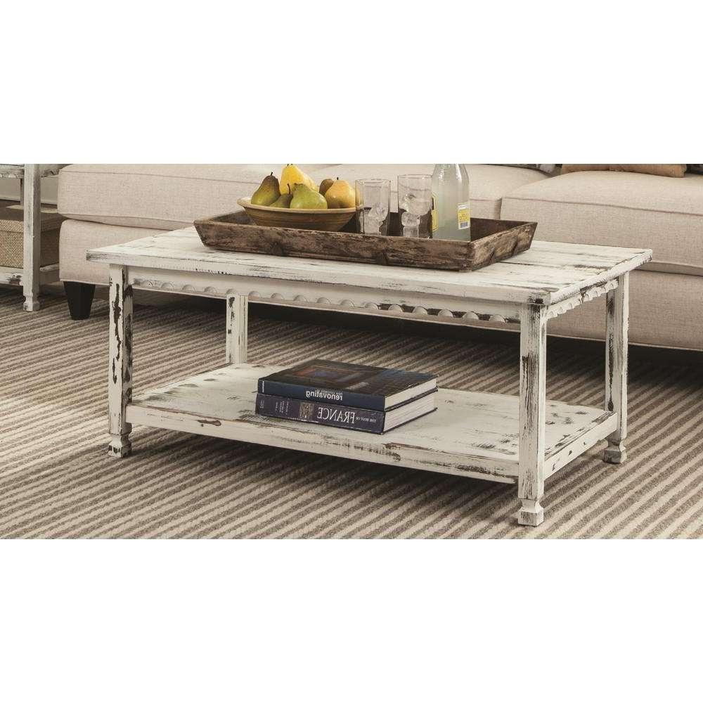 Current White Cottage Style Coffee Tables Pertaining To Alaterre Furniture Country Cottage White Antique 42 In (View 8 of 20)