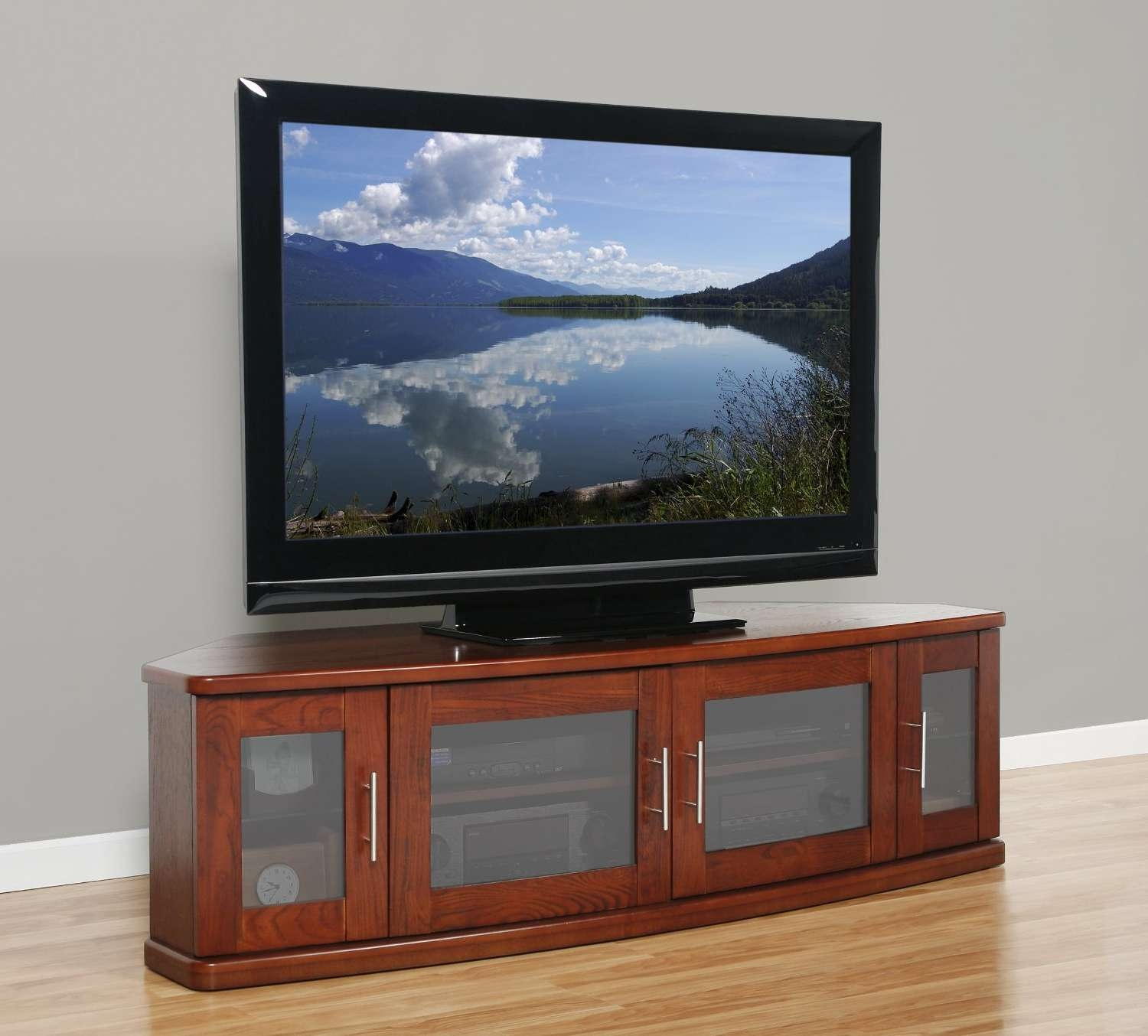 Curved Brown Figured Cherry Wood Low Cabinet For Tv Stand With 4 Regarding Wooden Tv Cabinets With Glass Doors (View 10 of 20)