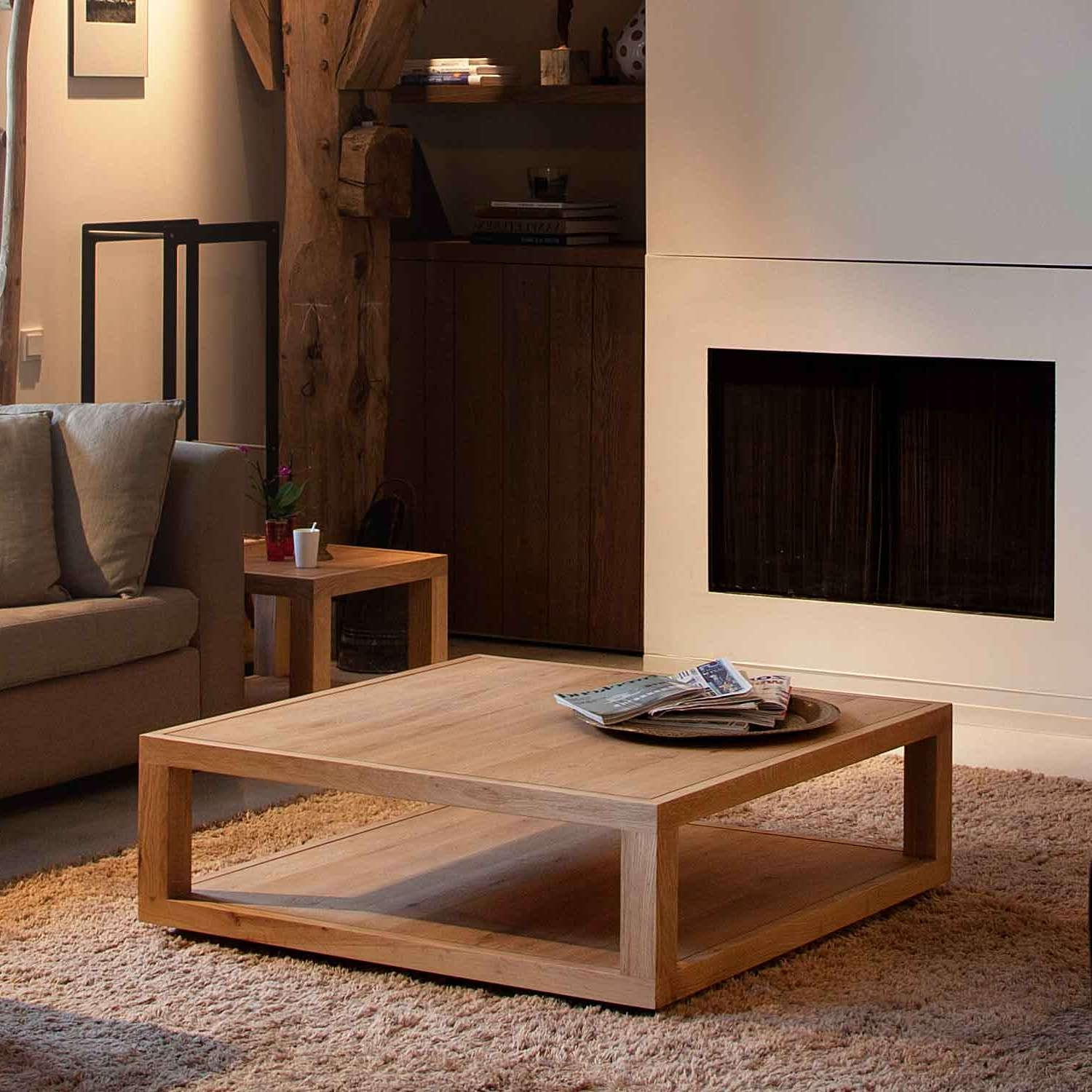 Custom Diy Low Square Wood Oak Coffee Table With Tray And With Preferred Low Coffee Tables With Storage (View 6 of 20)