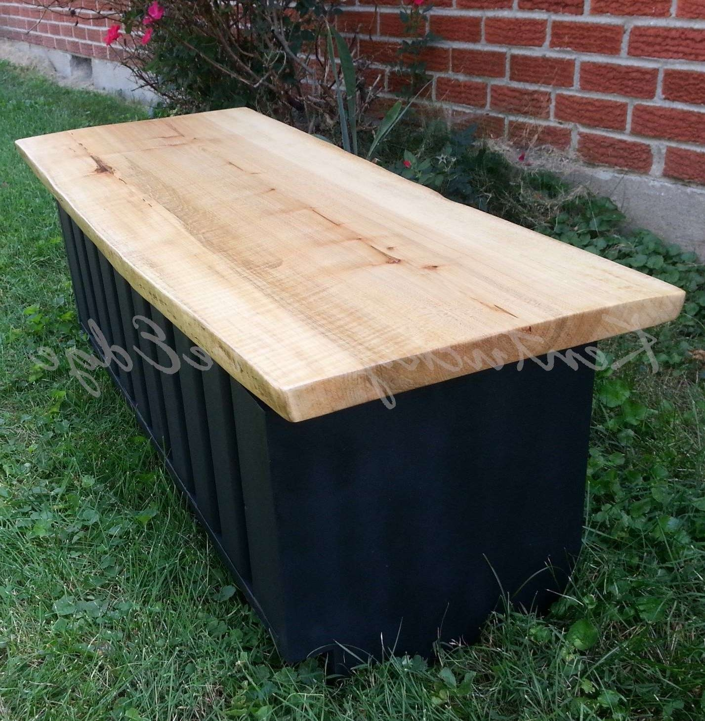 Custom Live Edge Coffee Table With Storage  Storage Trunk  Modern Regarding Preferred Blanket Box Coffee Tables (View 6 of 20)