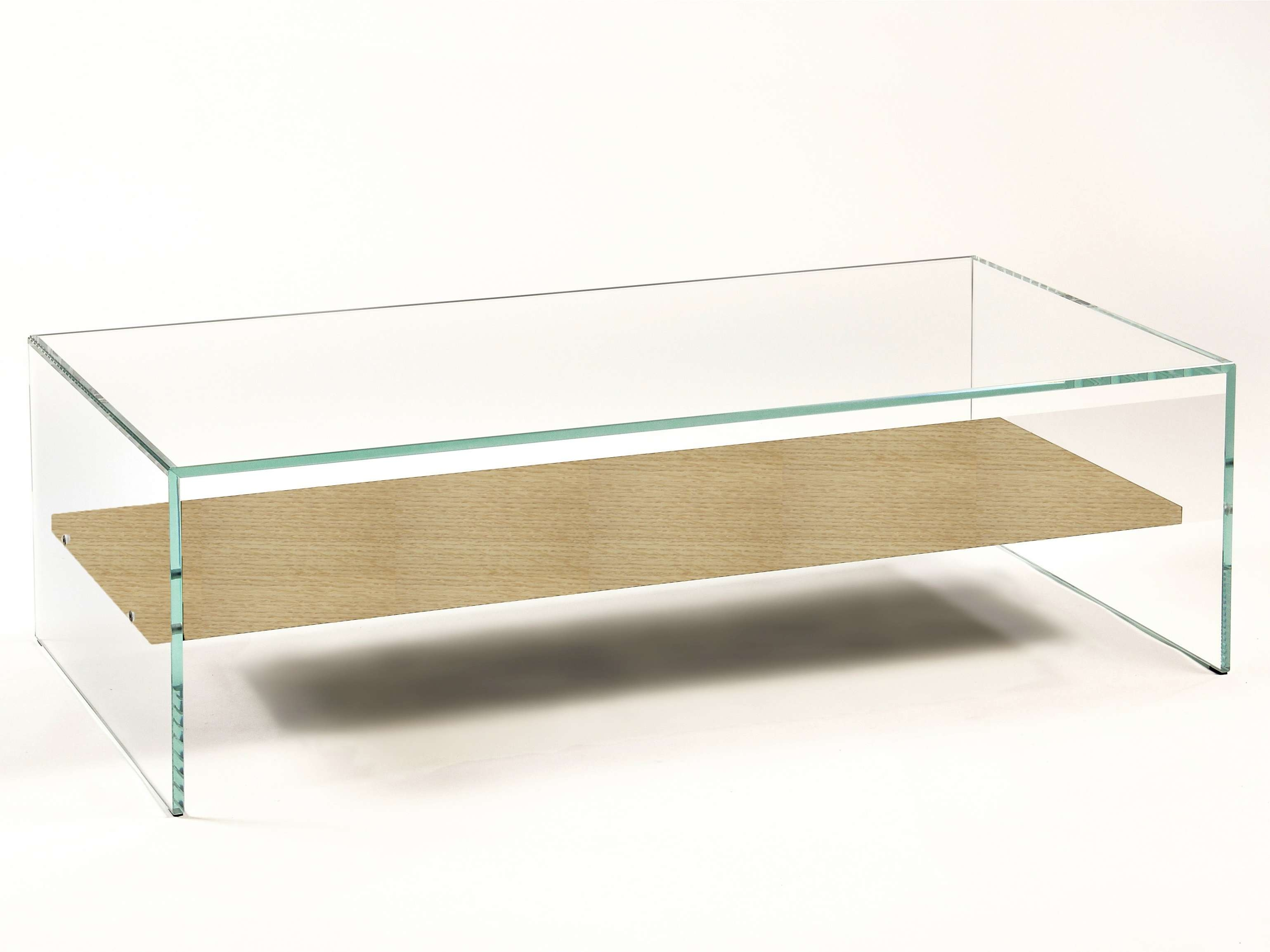 Custom Low Modern Glass Square Coffee Table With Wood Shelves For Within Trendy Glass Coffee Tables With Shelf (View 6 of 20)