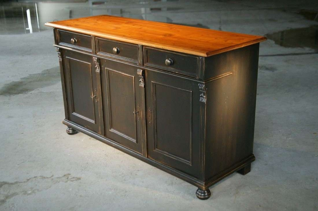 Custom Made Black Kitchen Island From Reclaimed Pine Sideboard In Black Sideboards Cabinets (View 3 of 20)