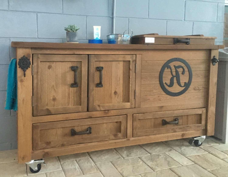 Custom Outdoor Cabinet Rustic Cooler Bar Cart Grilling Prep Regarding Rustic Sideboards Buffets (View 5 of 20)