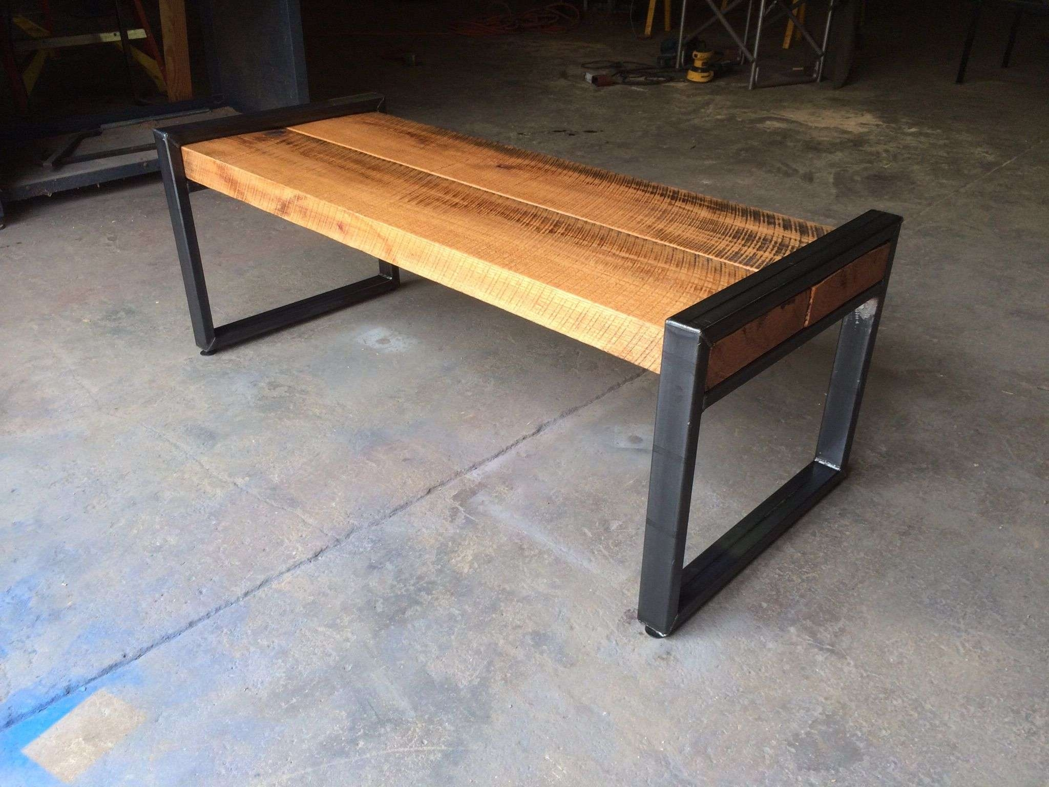Custom Reclaimed Oak Beam Benchvirginia Build Works Pertaining To Well Known Oak Beam Coffee Tables (View 9 of 20)