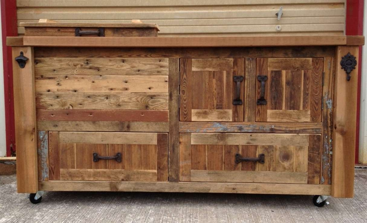 Custom Reclaimed Or Barnwood Furniture Bar Cabinets Wooden Regarding Bar Sideboards (View 6 of 20)