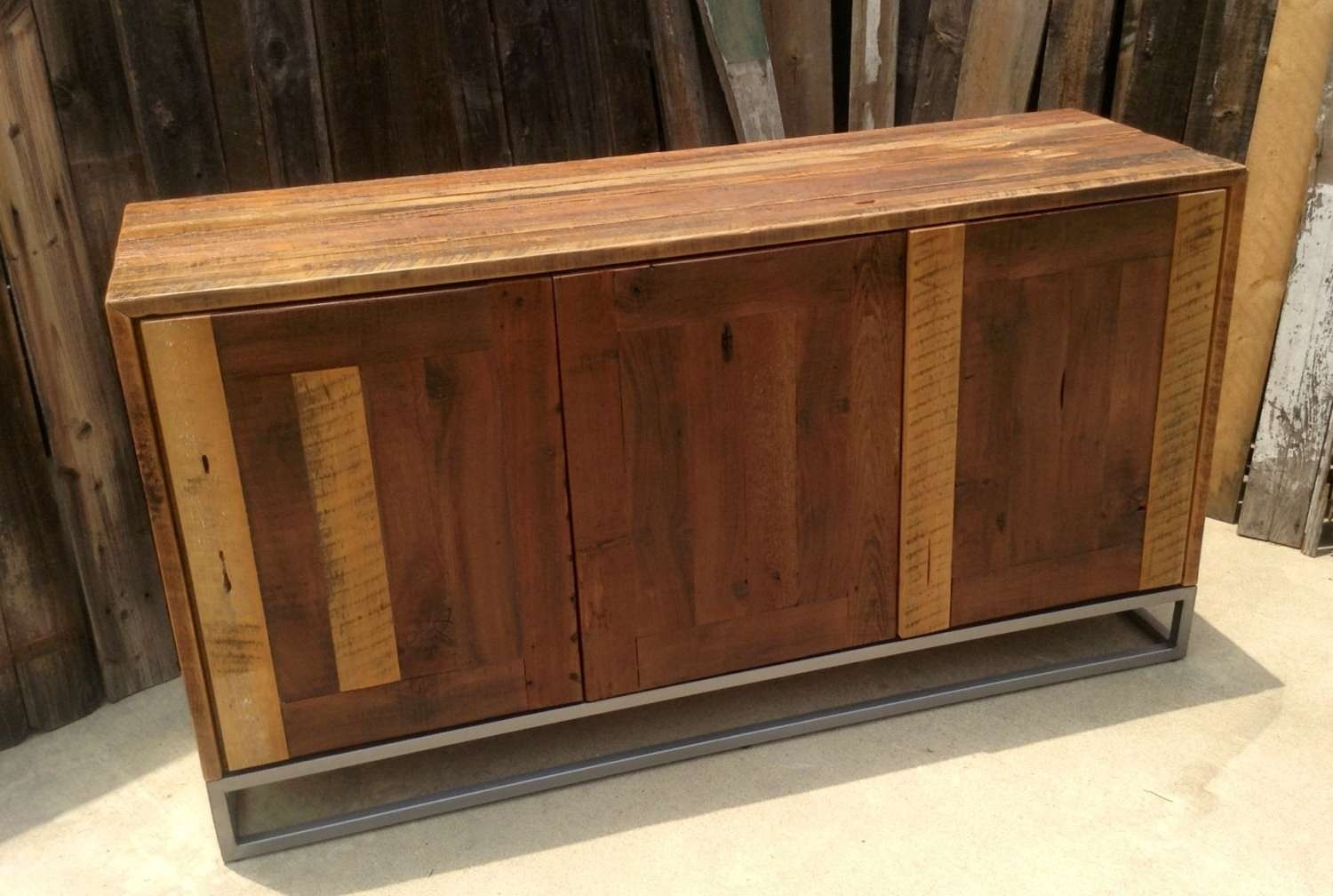 Custom Rustic Modern/ Industrial Reclaimed Wood Buffet Cabinet With Reclaimed Wood Sideboards (View 4 of 20)