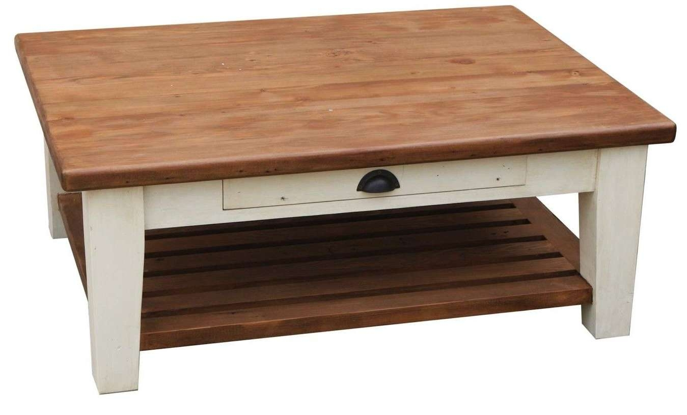 Custom Tapered Leg Country Coffee Tablemortise & Tenon Custom Inside Well Known Cream Coffee Tables With Drawers (View 6 of 20)