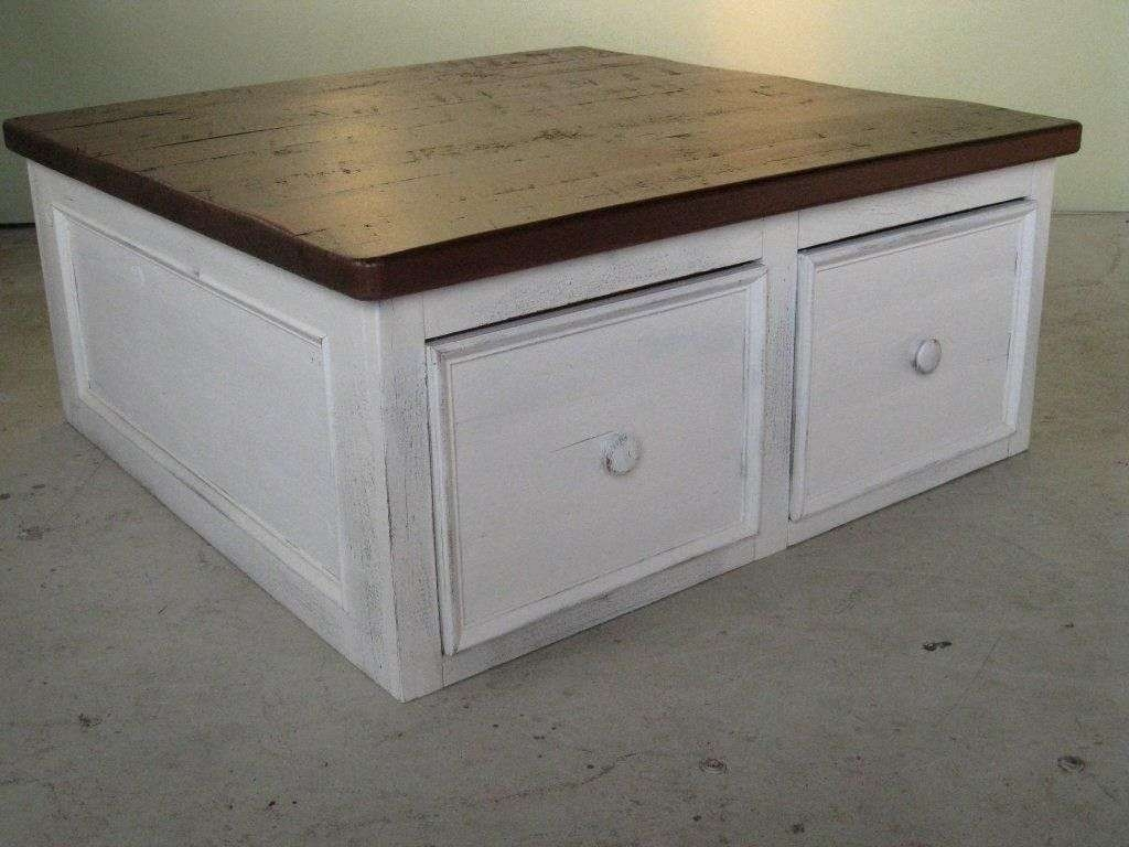 Custom White Coffee Table Floor Level With Large Drawers Intended For Newest White Coffee Tables With Storage (View 8 of 20)