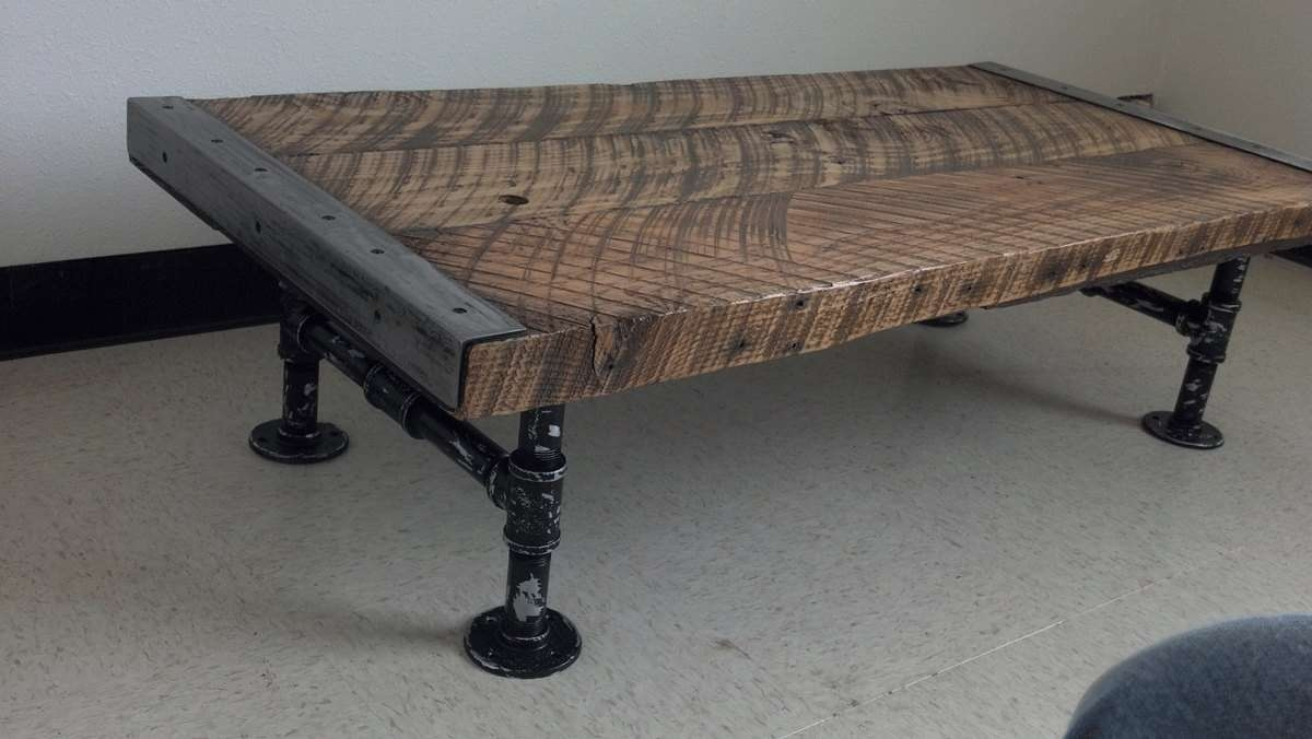 Customizable Industrial Coffee Table Old Barnwood Distressed Intended For Preferred Industrial Coffee Tables (View 9 of 20)