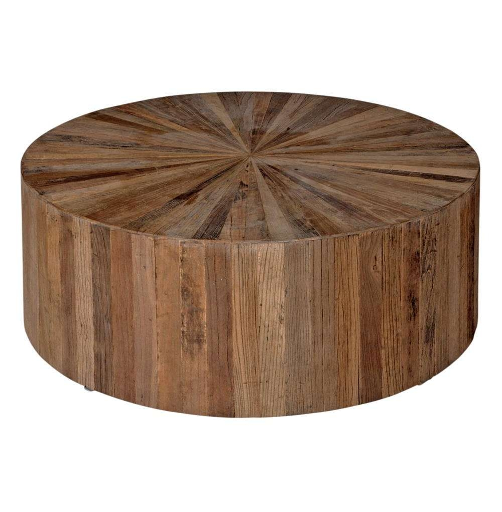 Cyrano Reclaimed Wood Round Drum Modern Eco Coffee Table (View 14 of 20)