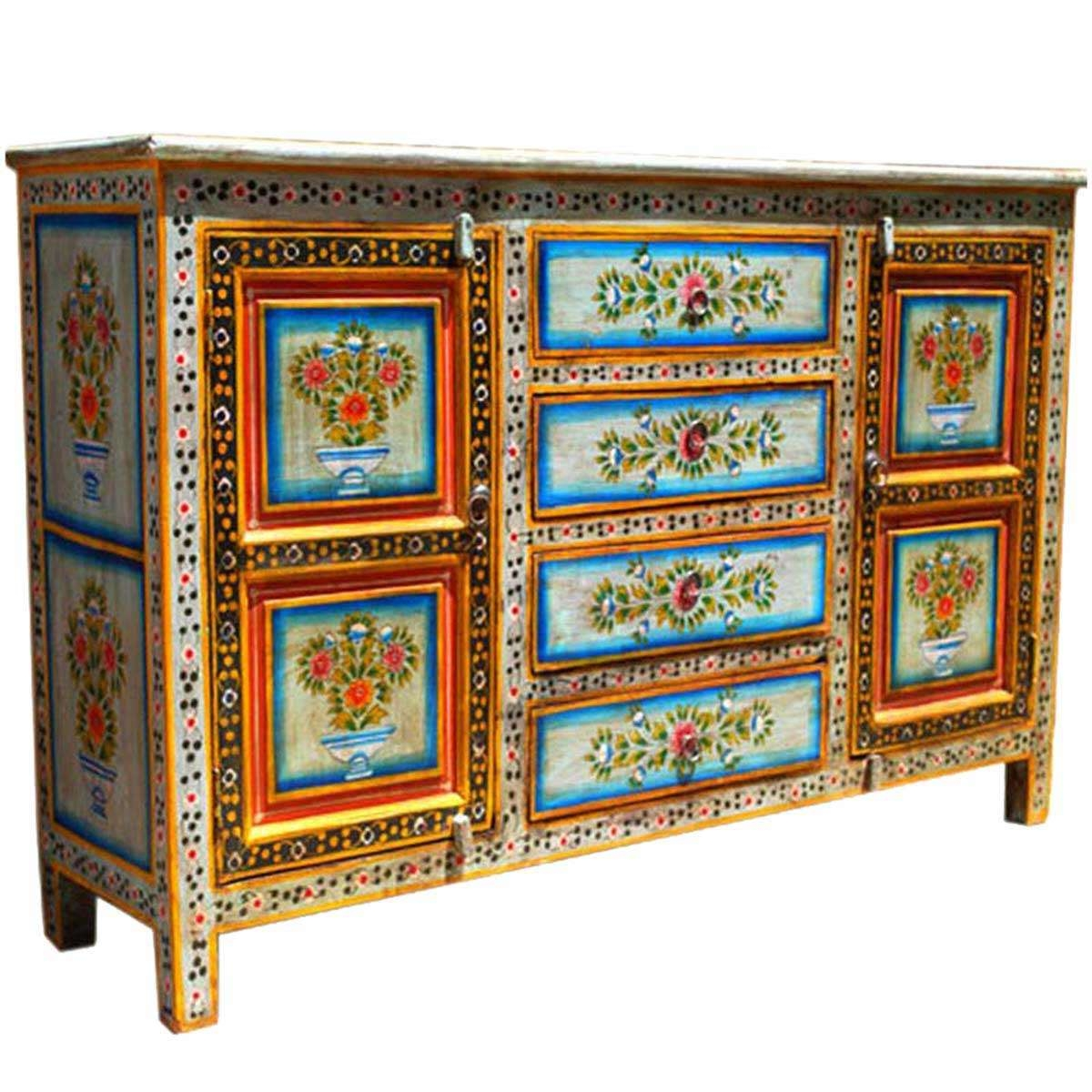 Dahlia Hand Painted 4 Drawer Sideboard Inside Hand Painted Sideboards (View 1 of 20)
