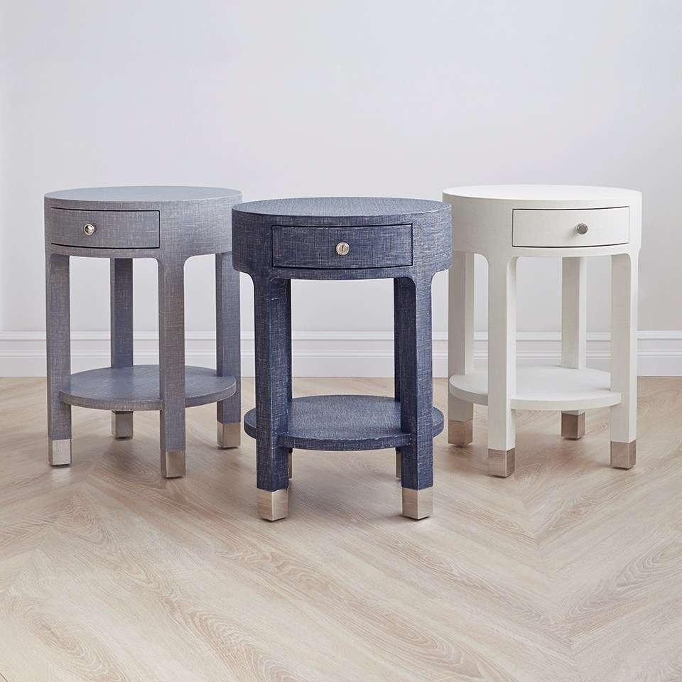 Dakota 1 Drawer Round Side Table, Navy Blue – Bungalow 5 For Most Current Round Coffee Tables With Drawers (View 19 of 20)