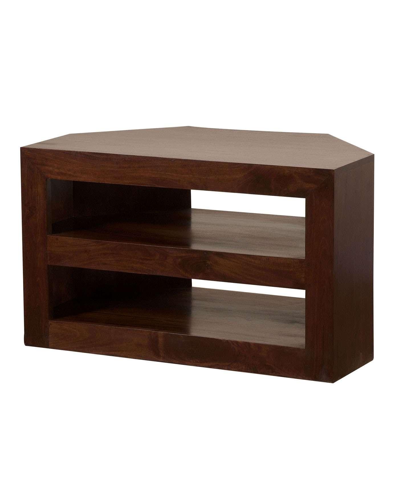 Dakota Corner Tv Unit Dark Shade – Homescapes Regarding Small Corner Tv Cabinets (View 14 of 20)