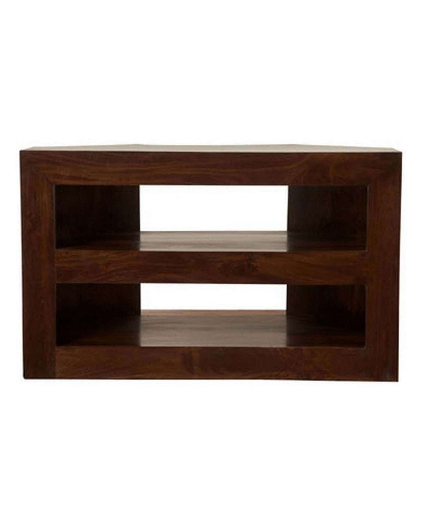 Dakota Corner Tv Unit Dark Shade – Homescapes With Wooden Corner Tv Cabinets (View 17 of 20)