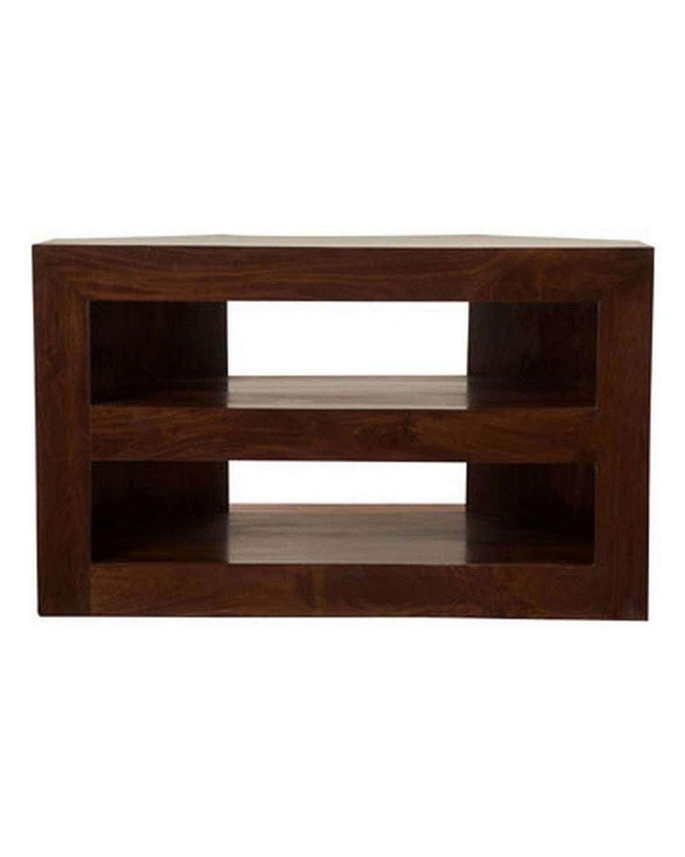 Dakota Corner Tv Unit Dark Shade – Homescapes With Wooden Corner Tv Cabinets (View 5 of 20)