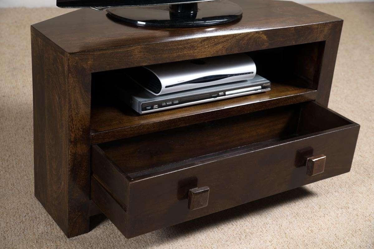 Dakota Dark Mango Small Corner Tv Stand | Casa Bella Furniture Uk Within Wood Corner Tv Cabinets (View 13 of 20)
