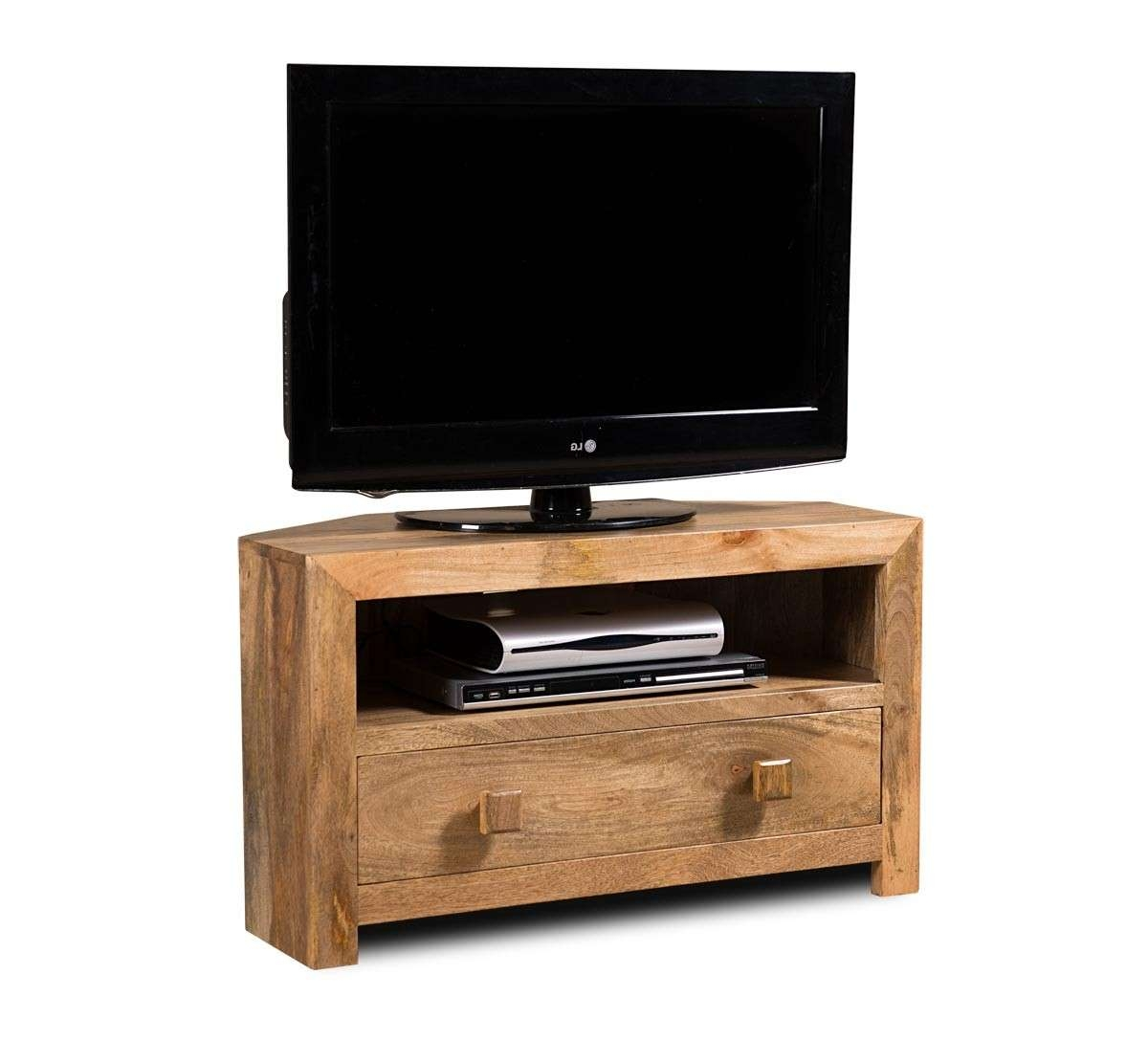 Dakota Light Mango Small Corner Tv Stand | Casa Bella Furniture Uk In Wood Corner Tv Cabinets (View 8 of 20)