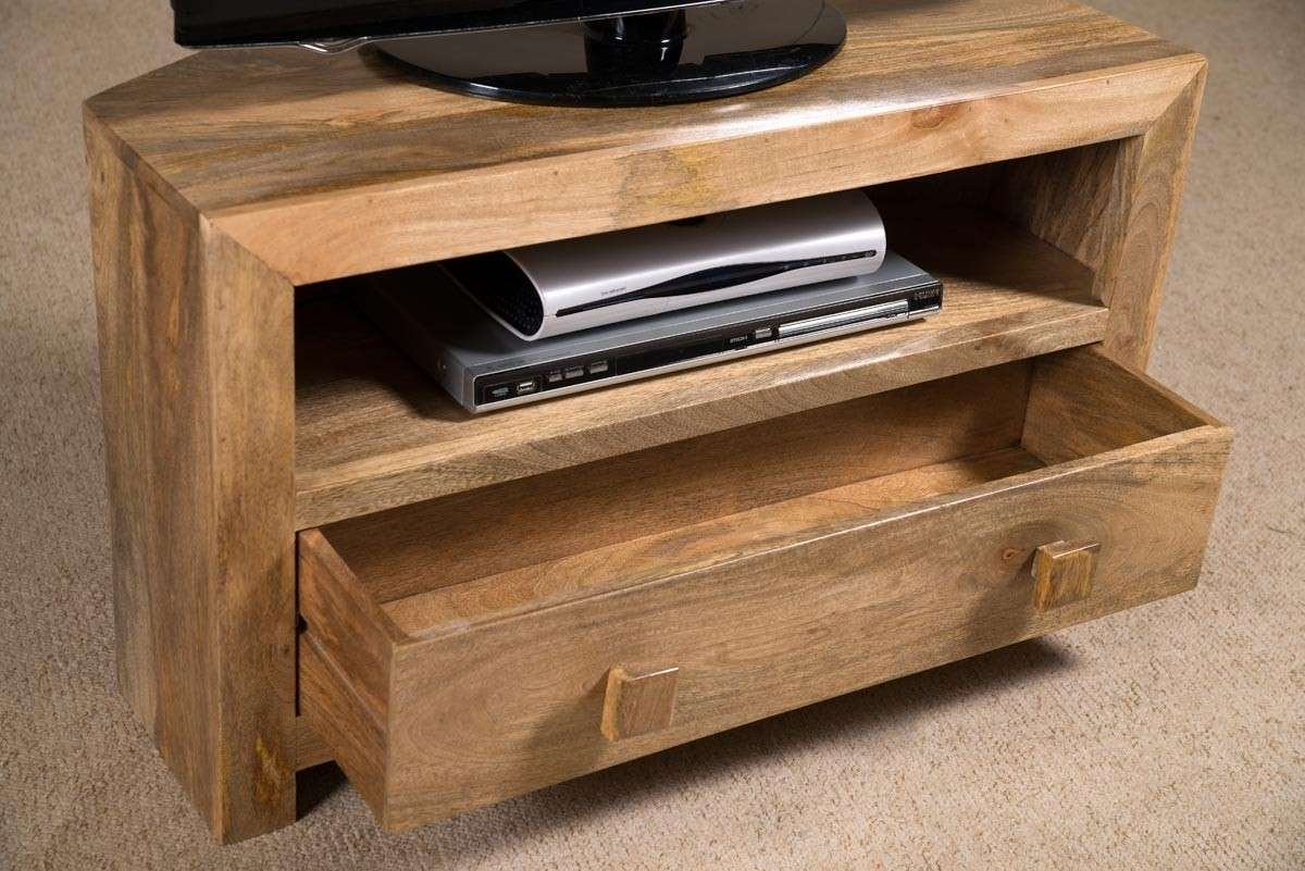 Dakota Light Mango Small Corner Tv Stand | Casa Bella Furniture Uk Inside Wooden Corner Tv Cabinets (View 12 of 20)