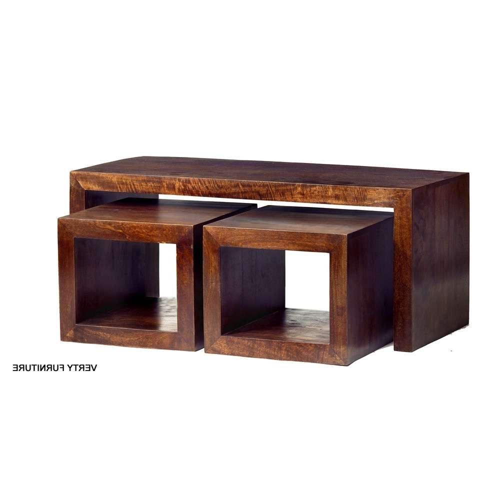 Dakota Mango John Long Cubed Coffee Table Set – Verty Indian Furniture Inside Current Mango Coffee Tables (View 7 of 20)